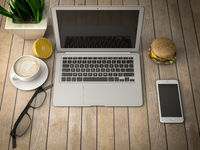 breakfast with a laptop 3d illustration