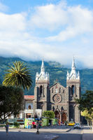 Catedral Church of the Virgin of the Holy Water (Reina del Rosario de Agua Santa), in the Central Plaza of the city of Baños de Agua Santa, Ecuador