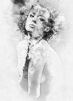 Black and white digital watercolor painting of a woman