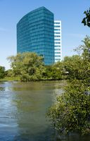 CALtrs building and flooded river in Sacramento California