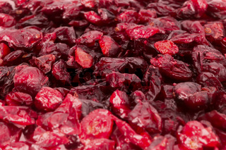 Low angle tilt-shift shot of dried cranberries