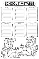 Black and white school timetable theme 4 - picture illustration.