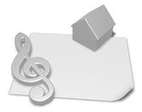 notenschlüssel und haus auf leerer papierseite - 3d rendering