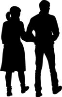 Silhouette of a girl and a young man walking