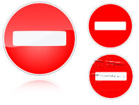 Set of variants no entry road sign
