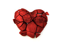 3D rendering of red fractured heart on white background