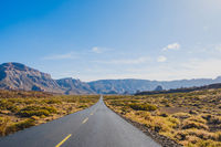 straight empty highway road in desert valley landscape  and mountains background ,