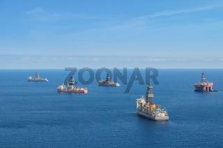 drilling platform ,  offshore drill ships, ocean aerial