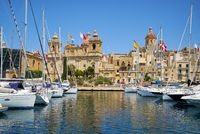 The yachts and boats moored in the harbor in Dockyard creek. Birgu. Malta