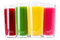 Saft Smoothie Smoothies im Glas Orangensaft Fruchtsaft isoliert freigestellt Freisteller
