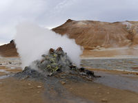 Hot steaming geothermal vent or fumarole at Hverarond near Myvatn north Iceland