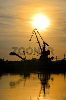 Industrial area with cranes