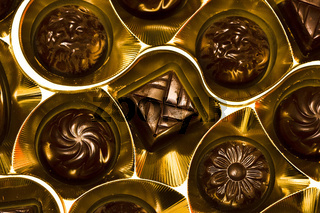 chocolate candy in golden box