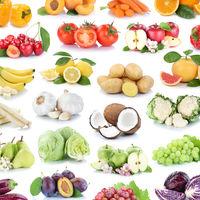 Obst und Gemüse Früchte Hintergrund Apfel Tomaten Quadrat Bananen Orangen Zitrone Weintrauben Collage