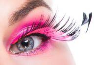 Eye with feather false eyelashes