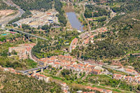 Monistrol de Montserrat overlook, town at the bottom of the Montserrat Mountain