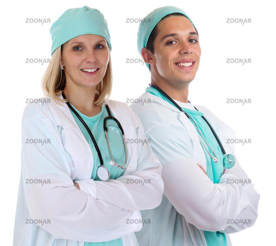 Arzt Doktor Team jung Ärzte Ärztin lachen Krankenschwester Beruf Freisteller