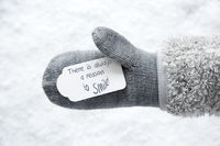 Wool Glove, Label, Snow, Quote Always Reason To Smile