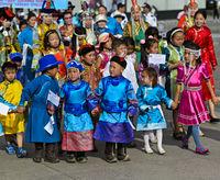 Children in  traditional deel costumes, Ulaanbaatar, Mongolia