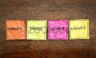 empower, engage, enable, and enhance