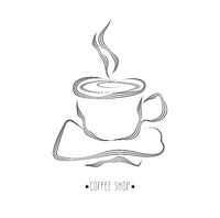 Hand Drawn Cup Of Hot Coffee