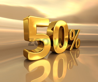 Gold 50%, Fifty Percent Discount Sign