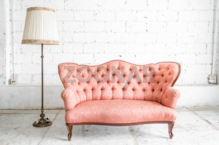 Pink Sofa with lamp