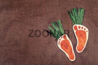 handmade foot-shaped carrot