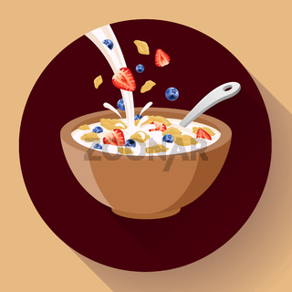 Vector breakfast cereal in bowl filled with milk and berries, flat cereal bowl icon. Breakfast icon. breakfast cereal in different flavors.