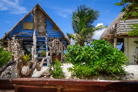 Traditional tropical hut the beach in Moorea Island