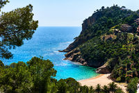 Empty Cala Giverola beach. Spain