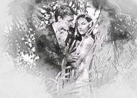 Beautiful couple in love hugging. Digital watercolor painting