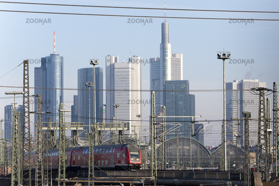 Frankfurt main station with a moving train of the German Federal Railways