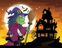 Witch with cat and broom theme image 3 - picture illustration.