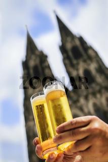 Two glasses of Koelsch beer