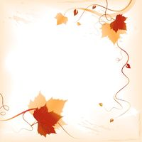 Fall background with red orange foliage and swirls