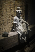 chinese traditional white stone statue sculpture on display