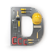 Letter D. Alphabet from the tools on the metal pegboard isolated on white.
