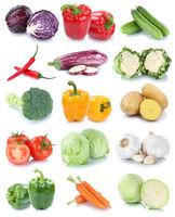 Gemüse Karotten frische Tomaten Paprika Salat Collage Freisteller freigestellt isoliert