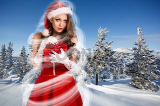 Beautiful woman in santa clause dress