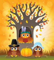 Thanksgiving owls thematic image 6
