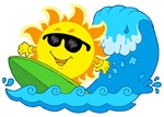 Surfing Sun on white background - isolated illustration.