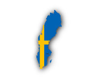 Karte und Fahne von Schweden - Map and flag of Sweden
