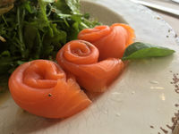 Smoked salmon rolled rosette