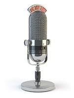 Retro old microphone with text on the air. Radio show or audio podcast concept. Vintage microphone isolated on white.