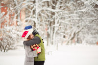 winter forest couple
