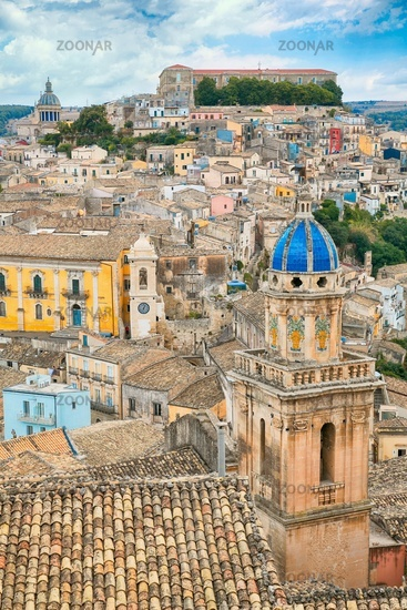 The cityscape of the town of Ragusa Ibla in Sicily in Italy