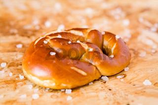 Closeup of salty cooked pretzel