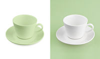 Cup on white & green background