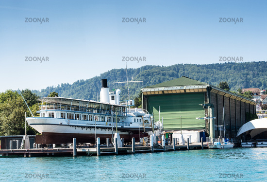 Ship in a shipyard in Zurich